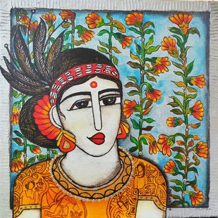 Tribal woman by Nandini, Expressionism Painting, Acrylic on Canvas, Lunar Green color