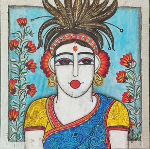 Tribal woman by Nandini, Expressionism Painting, Acrylic on Canvas, Powder Ash color