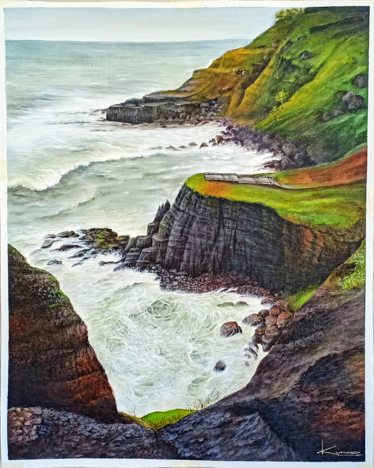 Seascape by Kumar Ranadive, Expressionism Painting, Acrylic on Canvas, Thunder color