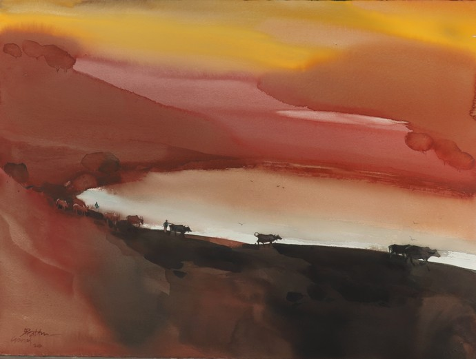 Goraj_ when cows come home by Prashant Prabhu, Abstract Painting, Watercolor on Paper, Potters Clay color