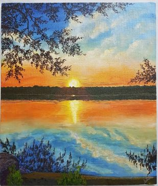 Sunset by Saheda , Impressionism Painting, Acrylic on Board, Heathered Gray color