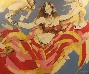 Dancer by Wilson Souza, Expressionism Painting, Oil on Canvas, Aztec Gold color