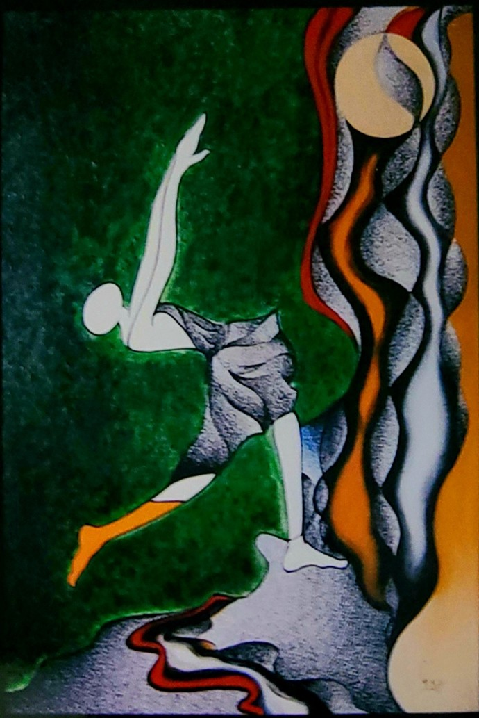 Expressing my feelings by Reena Tomar, Expressionism Painting, Acrylic & Ink on Canvas, Quick Silver color