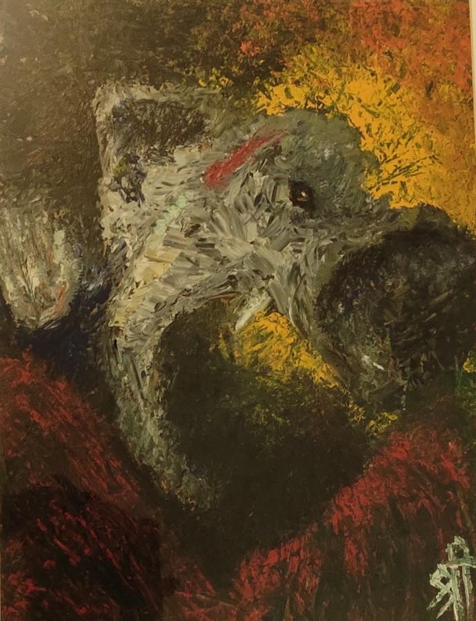 Ganesha by Sreekar, Expressionism Painting, Oil on Canvas Board, Black Marlin color