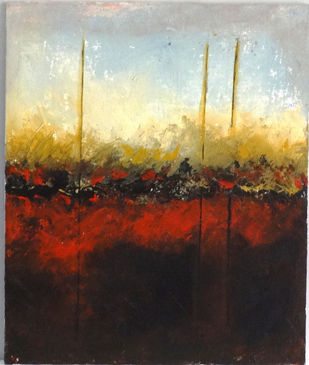 Abstract by Indrani Ghosh, Abstract Painting, Acrylic on Canvas, Moon Mist color