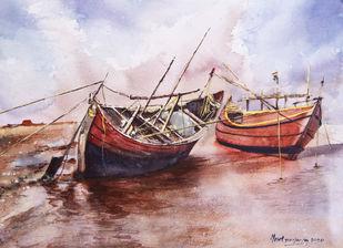 Boats at Rest during evening time Digital Print by Mrutyunjaya Dash,Impressionism