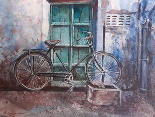 BiCycle in Jodhpur Digital Print by Mrutyunjaya Dash,Impressionism