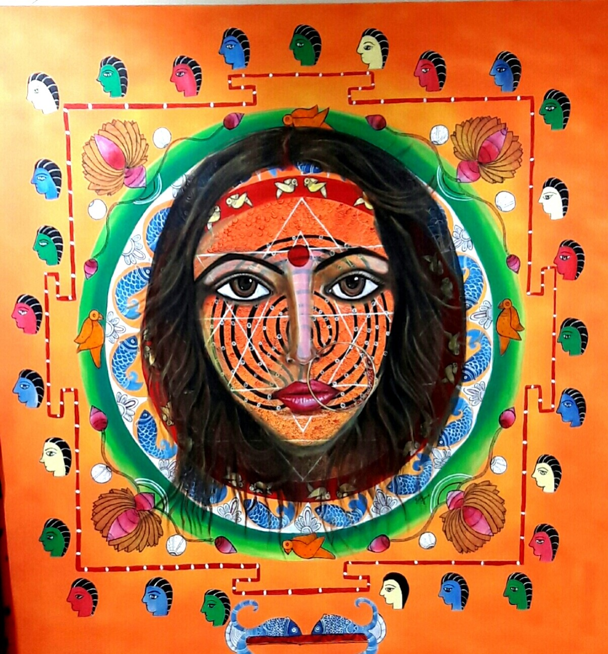 Garbh tantra and meditation by Soma Anand, Conceptual Painting, Acrylic on Canvas, Jaffa color