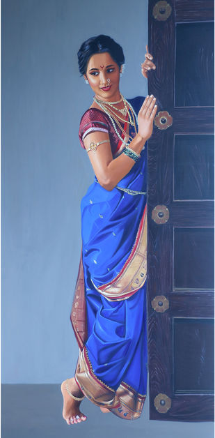 Madhurima by VINAYAK TAKALKAR, Photorealism Painting, Oil on Canvas, Hoki color