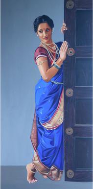 Madhurima by VINAYAK TAKALKAR, Photorealism Painting, Oil on Canvas, Hoki color