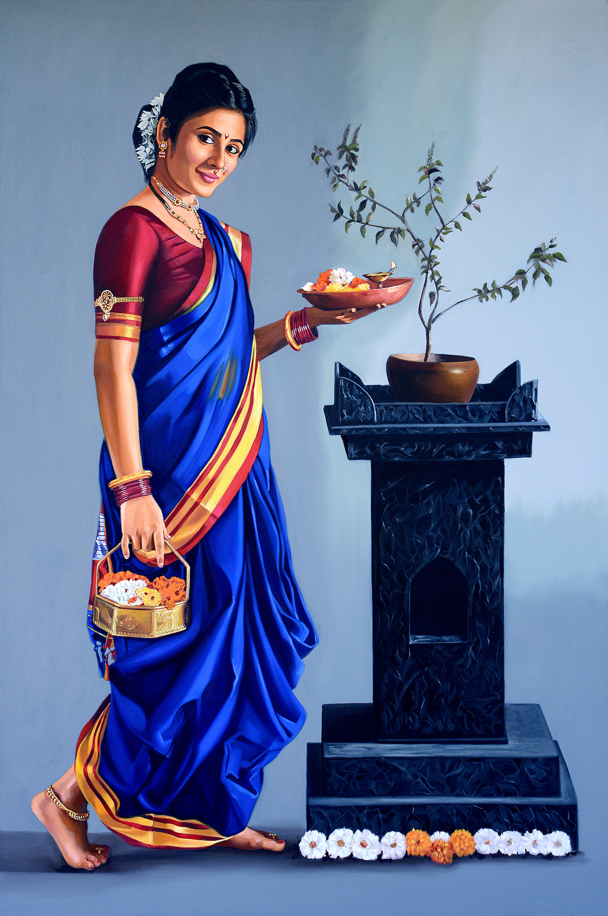 Vishnupriya by VINAYAK TAKALKAR, Photorealism Painting, Oil on Canvas, Nepal color