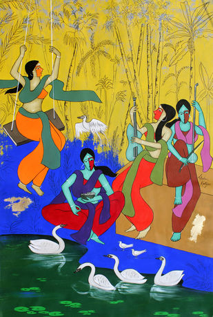 Thrill of life by Chetan Katigar, Expressionism Painting, Acrylic on Canvas, Luxor Gold color