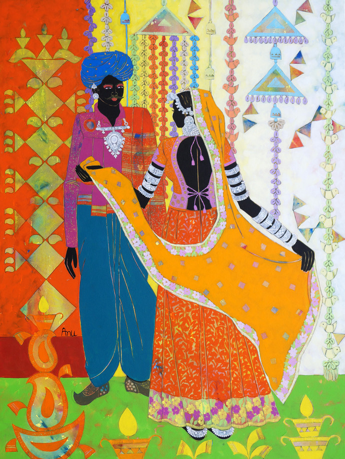Ethnic Serendipity-237 by Anuradha Thakur, Traditional Painting, Acrylic on Canvas, Blue Dianne color