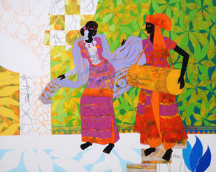 Ethnic Serendipity-226 by Anuradha Thakur, Expressionism Painting, Acrylic on Canvas, Amazon color