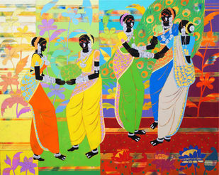 Ethnic Serendipity-225 by Anuradha Thakur, Digital Painting, Acrylic on Canvas, Casal color