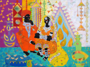 Ethnic Serendipity-228 by Anuradha Thakur, Expressionism Painting, Acrylic on Canvas, Jelly Bean color