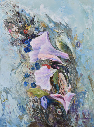 Melody by Debarati Roy Saha, Impressionism Painting, Mixed Media on Canvas,