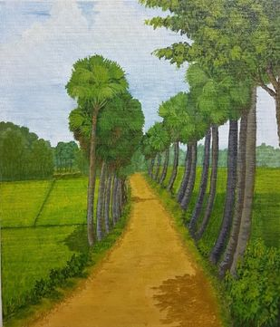Countryside by Saheda , Expressionism Painting, Acrylic on Board, Woodland color