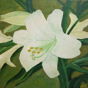Lily by Saheda , Expressionism Painting, Oil on Canvas, Foggy Gray color