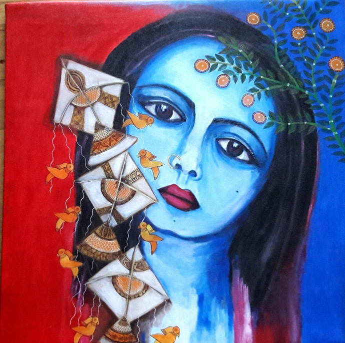 Wo Bachpan - series 1 by Soma Anand, Expressionism Painting, Acrylic on Canvas, Martinique color