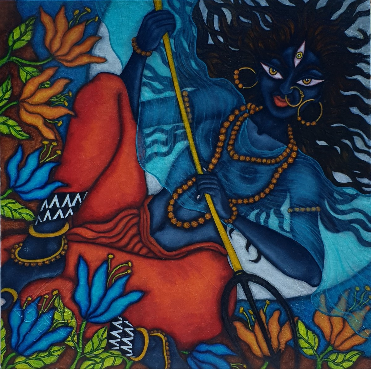Kali in the Moonlight by Vallery Puri, Expressionism Painting, Oil on Canvas, Ebony Clay color