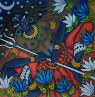 Kali in the Moonlight 2 by Vallery Puri, Expressionism Painting, Oil on Canvas, Shark color