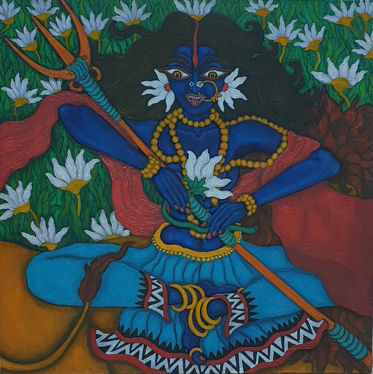 Kali in blue by Vallery Puri, Expressionism Painting, Oil on Canvas, Lunar Green color