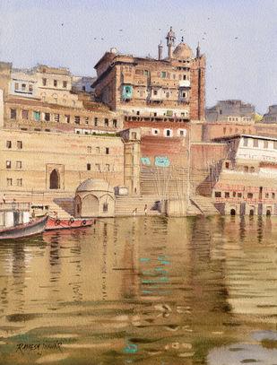 Banaras Ghat by Ramesh Jhawar, Impressionism Painting, Watercolor on Paper, Teak color