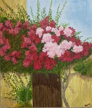 Bougainvillea by Saheda , Expressionism Painting, Acrylic on Board, Shingle Fawn color