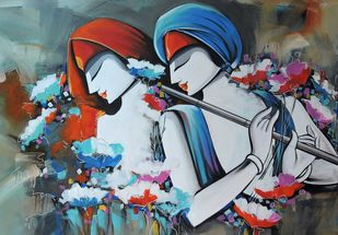 love song by pradeesh k raman, Expressionism Painting, Acrylic on Canvas, Mako color