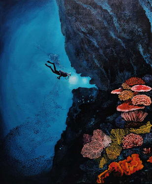 Scuba Diving by SAKSHI CHOKHANI, Expressionism Painting, Acrylic on Canvas, Mirage color