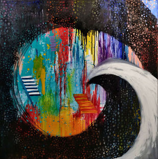Affect of Covid on LIfe by SAKSHI CHOKHANI, Expressionism Painting, Mixed Media on Canvas, Outer Space color