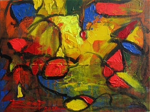 Serenity-IX by Roop Chand, Abstract Painting, Acrylic on Canvas, Bistre color