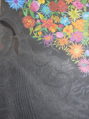 MAA by KAJAL PANCHAL, Abstract Painting, Pen, pencil, watercolour, chalk pastels on paper , Shuttle Gray color