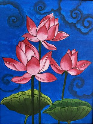 lotus by Poonam Gupta, Decorative Painting, Acrylic on Canvas, Charm color