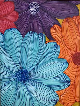 Floral by Poonam Gupta, Decorative Painting, Acrylic on Canvas, Martinique color