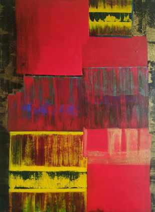 Abstracto 31 by Sweety Gupta , Abstract Painting, Acrylic on Canvas, Burnt Umber color