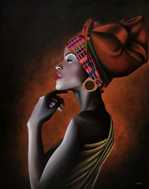 African Lady by Kiran Singh, Expressionism Painting, Acrylic on Canvas, Night Rider color