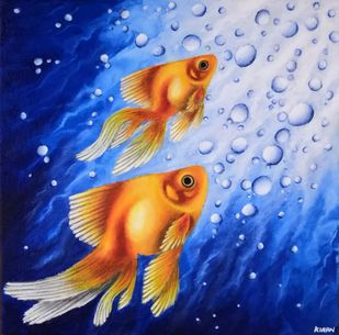 Fish and bubbles by Kiran Singh, Photorealism Painting, Acrylic on Canvas, Vanilla color