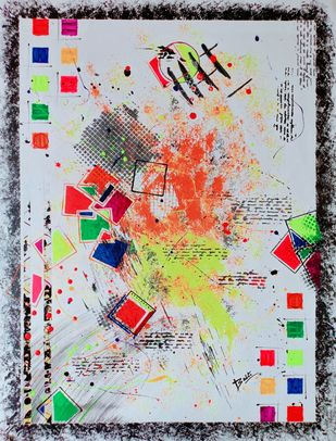Abstract 103 by Babita Maheswary , Abstract Painting, Acrylic on Canvas, Pumice color