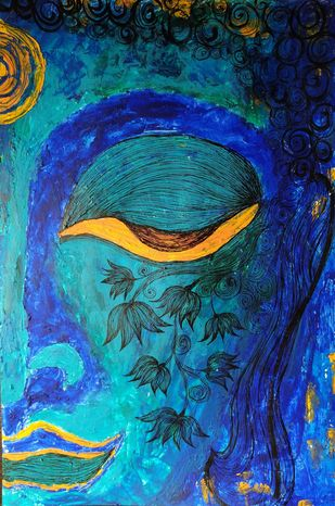 Gautam by Swadha, Expressionism Painting, Acrylic & Ink on Paper, Midnight Blue color