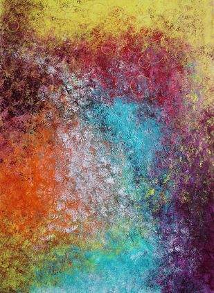 A new beginning by Babita Maheswary , Abstract Painting, Acrylic on Canvas, Beaver color