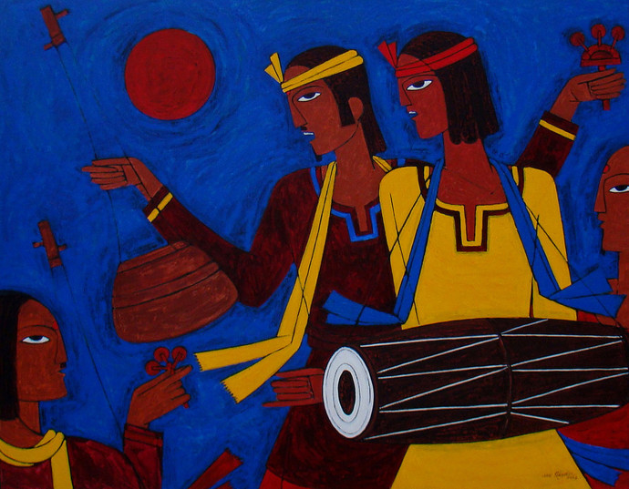 Folk Singer by Jiaur Rahman, Expressionism Painting, Acrylic on Canvas, Port Gore color