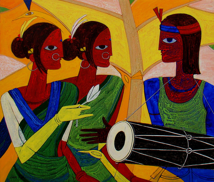 Tribal Dance by Jiaur Rahman, Expressionism Painting, Acrylic on Canvas, Old Gold color