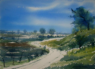 Landscape by Jiaur Rahman, Impressionism Painting, Watercolor on Paper, Gray Asparagus color