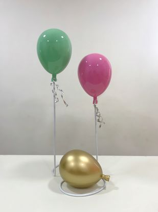 Balloon installation - 2 by Vernika, Expressionism Sculpture | 3D, Fiber Glass, Quill Gray color