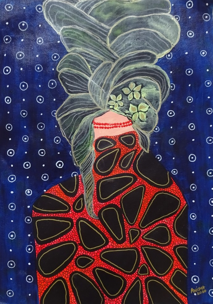 Cocooned by Anissha Deshpande, Abstract Painting, Acrylic on Canvas, Ebony Clay color