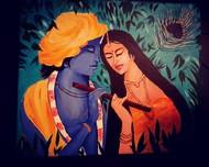 Radhe Krishna by Uma Narayanan, Decorative Painting, Acrylic on Canvas, Ebony color