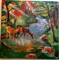 In the woods by Uma Narayanan, Expressionism Painting, Acrylic on Canvas, Tobacco Brown color