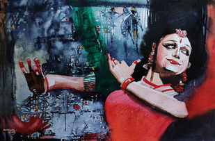 Krishna Nee Begane.... by Mopasang Valath, Expressionism Painting, Watercolor on Paper, Old Rose color